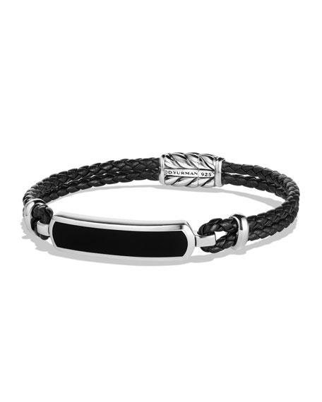 David Yurman Lea Men's Woven Leather Station Bracelet