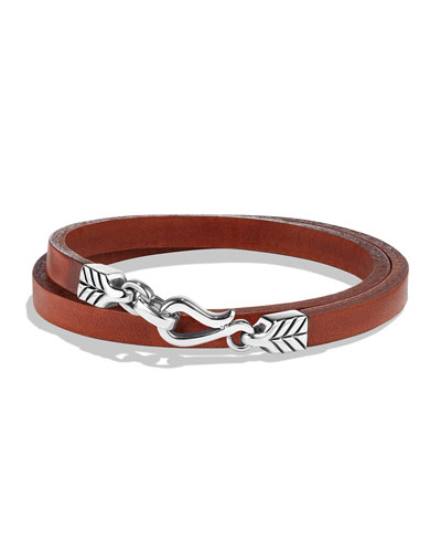 Men's Chevron Double-Wrap Leather Bracelet, Brown