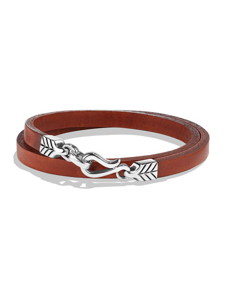 David Yurman Men's Chevron Double-Wrap Leather Bracelet, Brown
