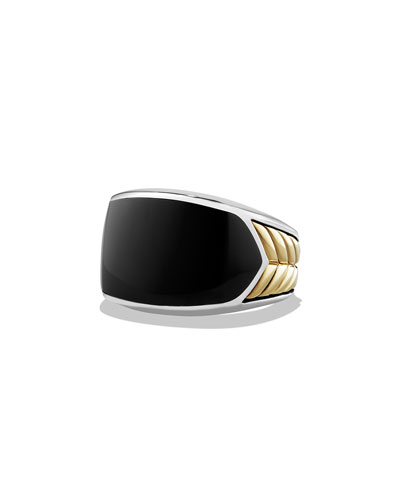 Men's Chevron Ring with Black Onyx, Size 11