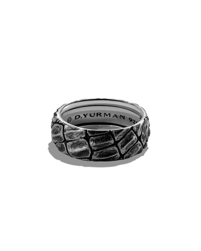 Alligator-Embossed Band Ring