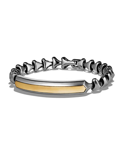 Armory Sterling Silver & 18K Yellow Gold Single Row ID Bracelet