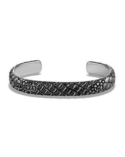 Men's Gator-Embossed Cuff Bracelet