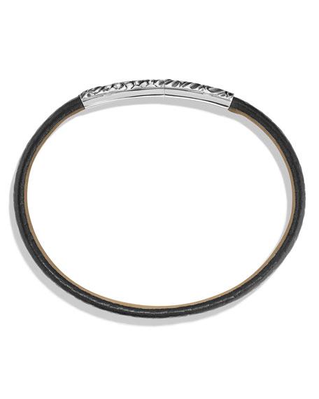 Men's Alligator-Embossed Leather & Sterling Silver Bracelet, Black