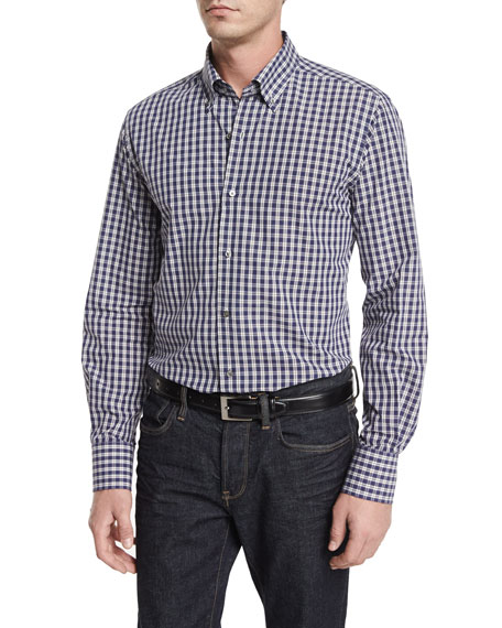 Neiman Marcus Small Check Long-Sleeve Sport Shirt, Blue/Gray