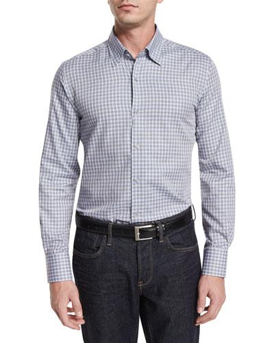 Plaid-Check Long-Sleeve Sport Shirt, White/Blue/Gray