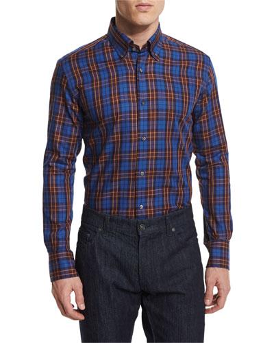 Plaid Long-Sleeve Sport Shirt, Navy/Cranberry/Ochre