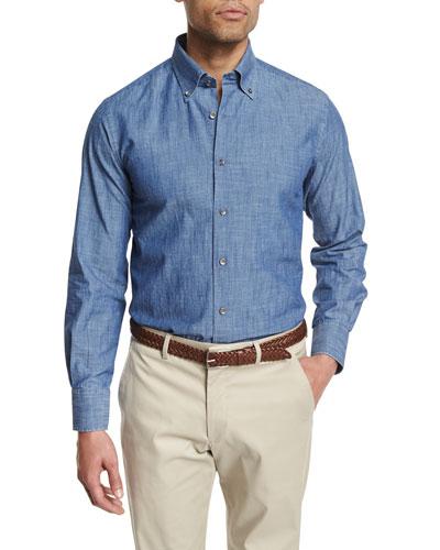 Chambray Long-Sleeve Sport Shirt, Dark Blue
