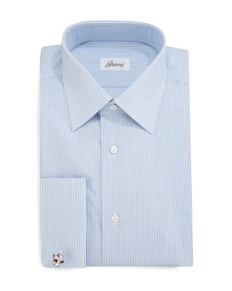 Brioni Rope-Stripe French-Cuff Dress Shirt, Blue