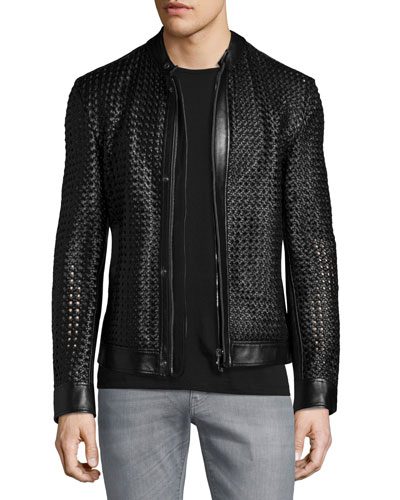 Woven Leather Zip-Up Jacket, Black