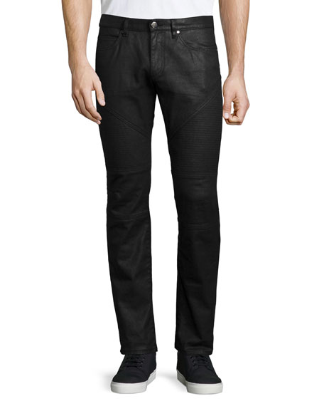 Versace Collection Trend-Fit Stretch Coated Moto Jeans, Black