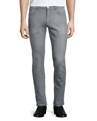 Slim-Fit Stretch Denim Jeans, Gray
