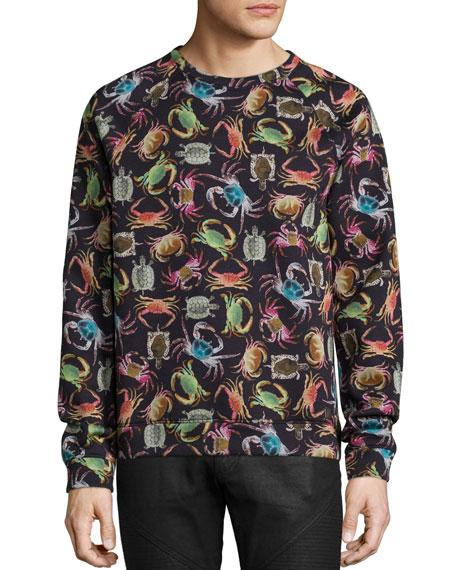 Versace Collection Crab-Print Crewneck Sweatshirt, Black Multi