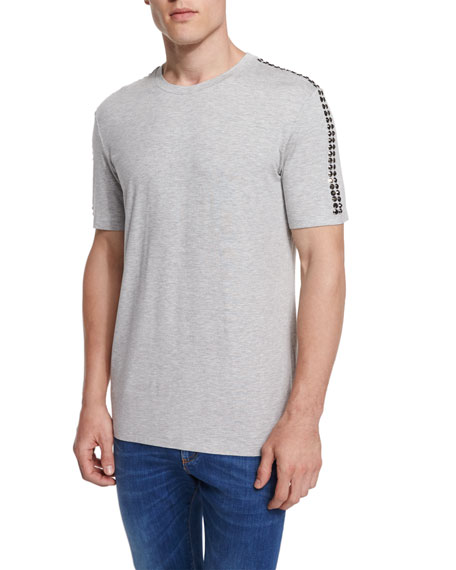 Versace Collection Studded-Sleeve Crewneck T-Shirt, Gray