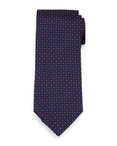Circle-Dot Patterned Neat Silk Tie, Navy