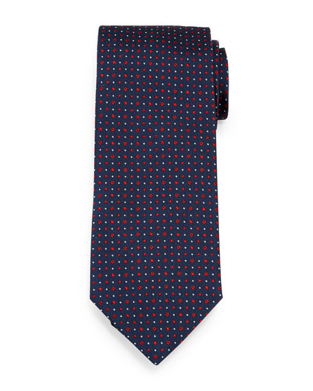 Circle-Dot Patterned Neat Silk Tie, Navy