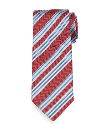 Textured Herringbone-Stripe Silk Tie, Red