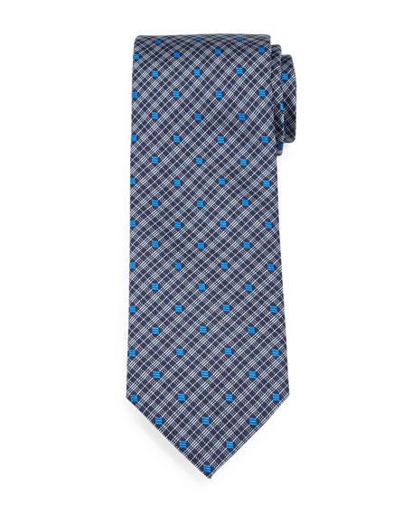 Brioni Plaid & Square-Print Silk Tie, Royal