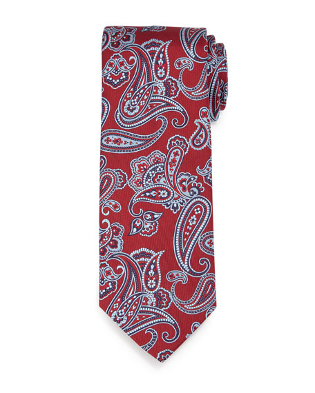 Textured Paisley-Print Silk Tie, Red