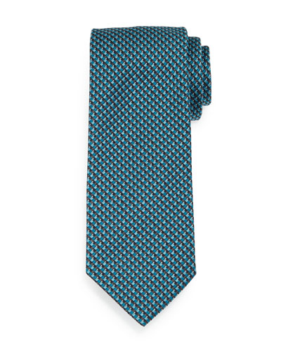 Basketweave-Print Neat Silk Tie, Teal