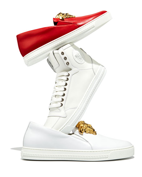 Leather Slip-On Sneaker with Golden Medusa Head, White