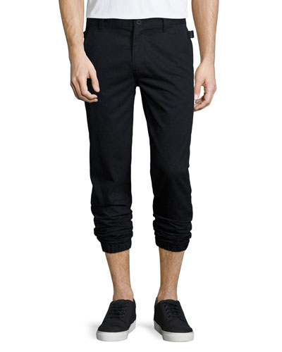 Cotton Elastic-Cuff Trousers, Black