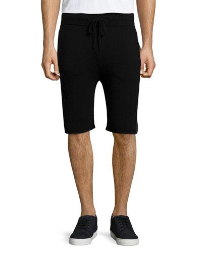 Drawstring Slim-Fit Shorts, Black