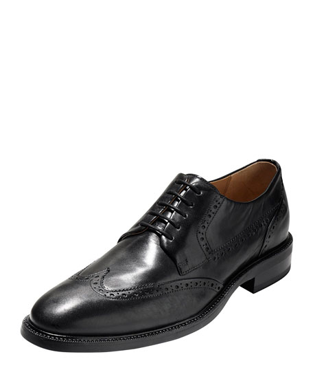 Cole Haan Warren Wing-Tip Leather Oxford, Black