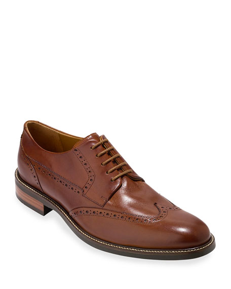 Cole Haan Warren Leather Wing-Tip Oxford, British Tan
