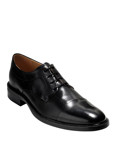 Warren Cap-Toe Leather Oxford, Black
