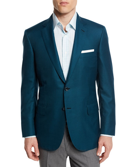 Houndstooth Wool-Blend Sport Coat, Green