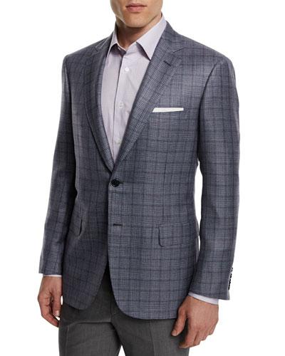 Plaid Cashmere-Blend Sport Coat, Gray