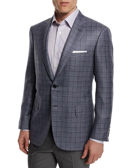Brioni Plaid Cashmere-Blend Sport Coat, Gray
