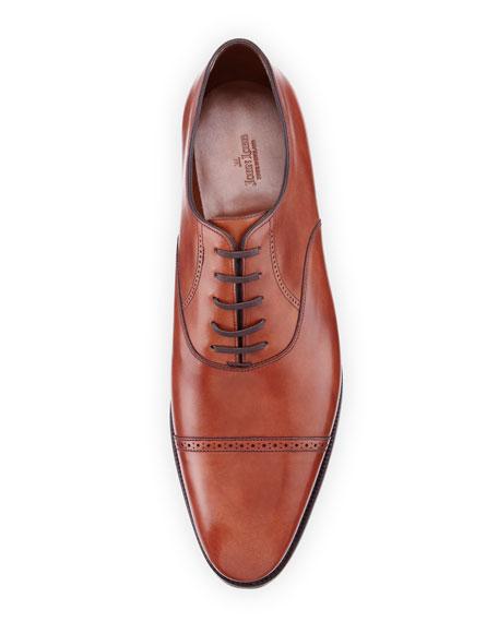 Philip II Cap-Toe Leather Oxford, Dark Brown