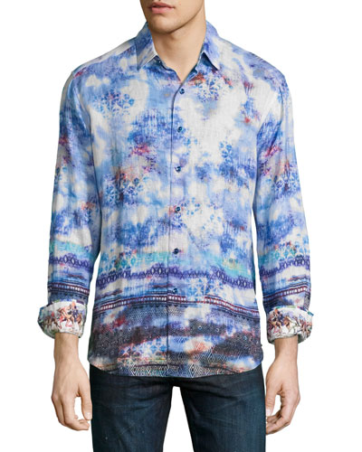 The Tribe Allover Printed Sport Shirt, Sapphire
