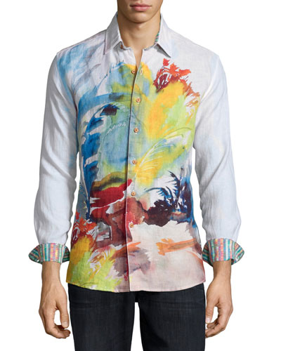 Arizona Brushstrokes Long-Sleeve Evening Shirt, Multi