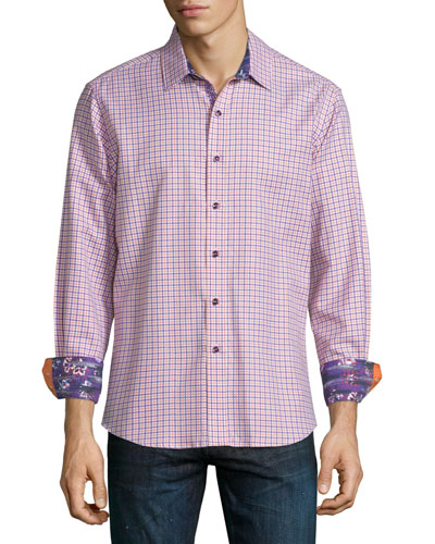Conor Check Long-Sleeve Sport Shirt, Orange