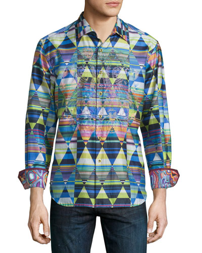 Land Bridge Geo-Print Sport Shirt, Multi