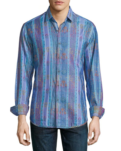 Cultivated-Print Long-Sleeve Sport Shirt, Blue
