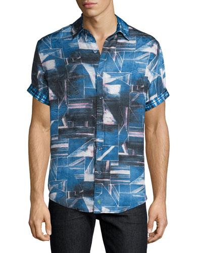 Rocky Island Multi-Printed Silk/Cotton Sport Shirt, Indigo