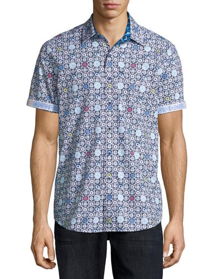 Robert Graham Tawada Geo-Print Short-Sleeve Sport Shirt, White/Multi