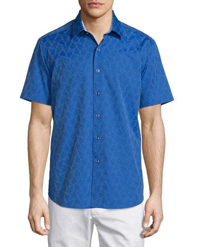 Seven Wonders Tonal Jacquard Short-Sleeve Sport Shirt, Sapphire