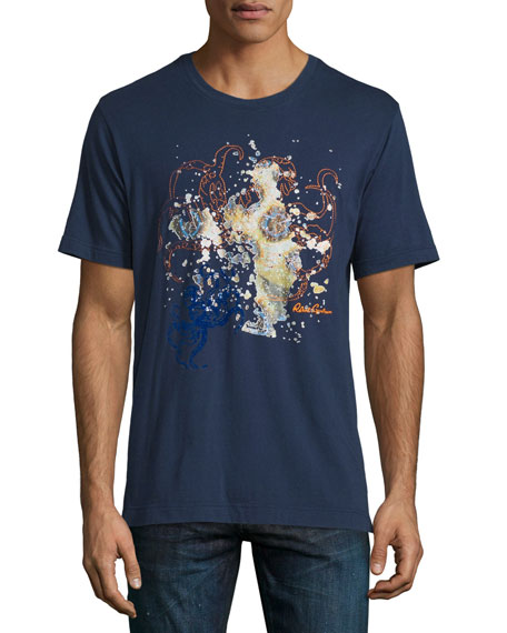 Robert Graham Octopus-Print Short-Sleeve Tee, Dark Navy
