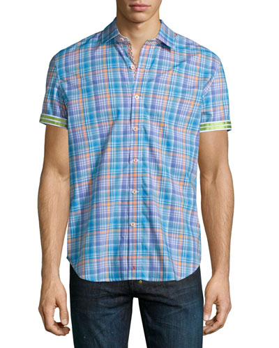 Ronan Multi-Check Short-Sleeve Shirt, Turquoise
