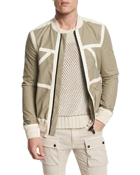 Belstaff Treswell Suede-Trim Cotton Full-Zip Jacket, Dark Sand