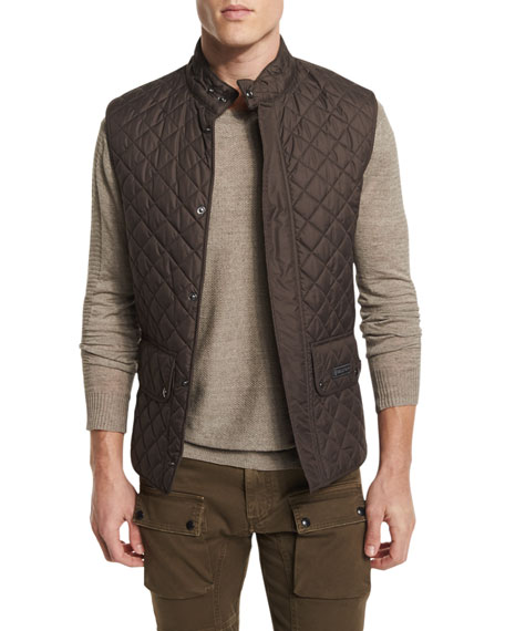Belstaff Quilted Snap-Front Waistcoat, Mahogany