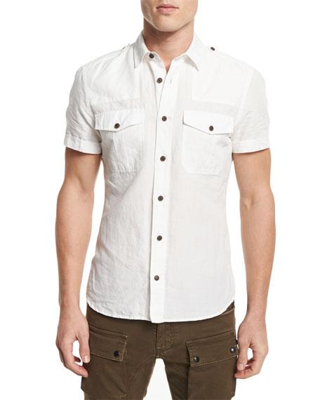 Belstaff Simon Short-Sleeve Linen-Blend Shirt, Natural White