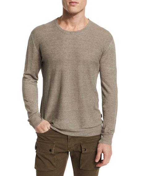 Belstaff Kester Ribbed-Sleeve Crewneck Linen Sweater, Chino
