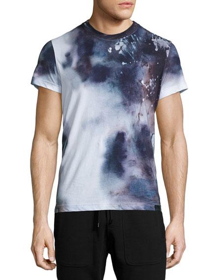 belstaff tollgate tie dye crewneck t shirt regency blue