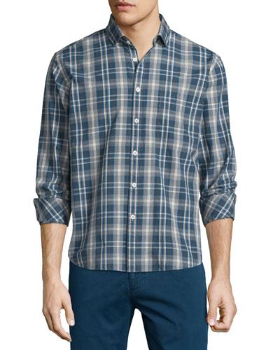 Multi-Plaid Long-Sleeve Woven Sport Shirt, Multi